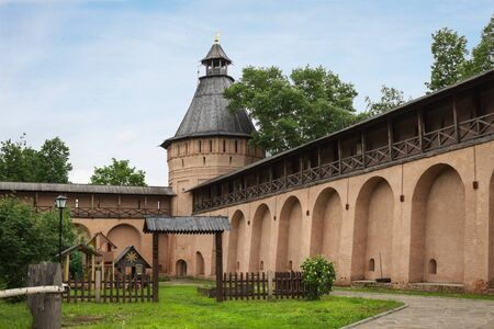 Suzdal, Russia - May 28, 2013: Inner court in Spaso-Evfimiev monastery in Suzdal. It was specially carefully preserved to attract tourists