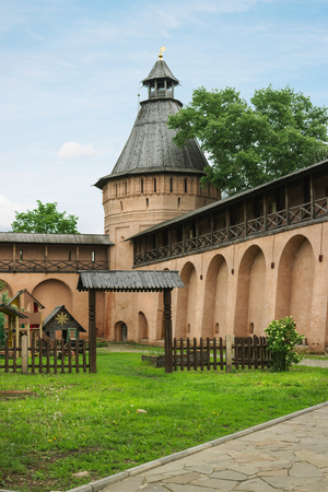 Suzdal, Russia - May 28, 2013: Vintage tower and wall in Spaso-Evfimiev monastery in Suzdal. It was specially recreated preserved to attract tourists