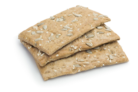 Malt biscuits with sunflower seeds a white background, diabetic food