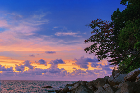 Rocky seashore, trees and sunset over the sea. Thailand