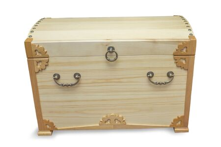 Handmade chest made by craftsman and covered with light varnish on white bacground