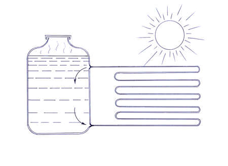 Simple scheme of the heater working on solar energy