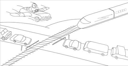 Person in his imagination overcomes a large traffic jam at the railway crossing. Monochrome vector illustration