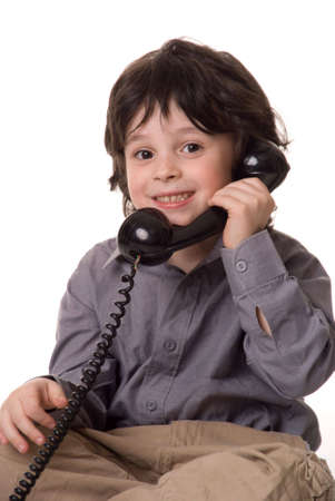 The boy with a telephone photo