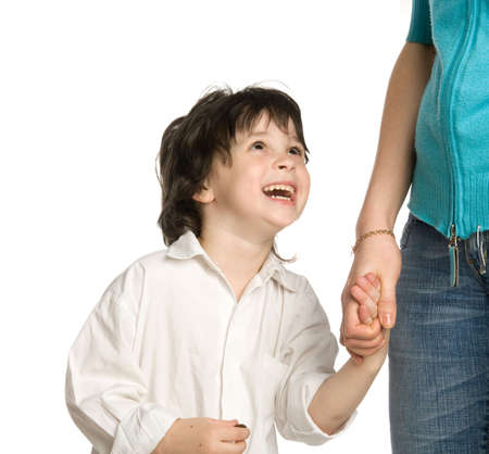 meet and greet: The liitle boy wish  holding of mother`s hand Stock Photo