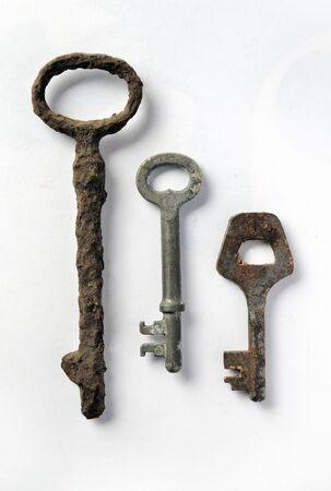 Three vintage rusty keys, closeup image Stok Fotoğraf - 6672276