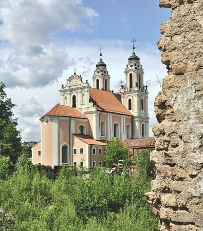 Church of St. Catherine, Vilnius, Lithuania. View from monastery ruins