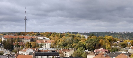 Panoramic view, Vilnius old town . Television tower. Autumn hills at a Vilnius  photo