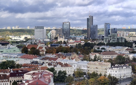 Vilnius old town and business district panorama, autumn season