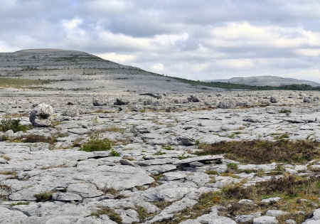 The Burren is a karst-landscape region in northwest County Clare, in Ireland  Irish fences Stock Photo - 13899777