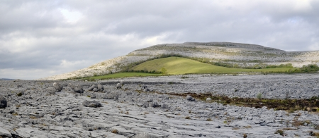 The Burren is a karst-landscape region in northwest County Clare, in Ireland  Irish fences Stock Photo - 13899761