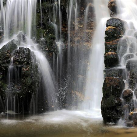 watermills: Waterfall, medieval water-mills ruins
