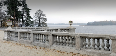 Tiskeviciai manor in Trakai, Lithuania   Galve  lake  Cloudy autumn day