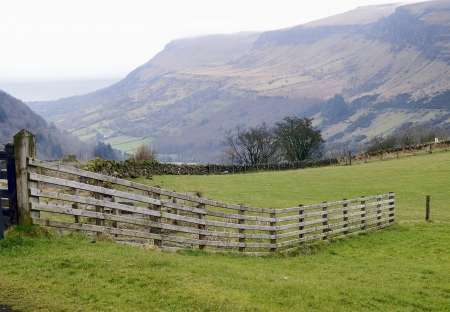 rainy day: Mountain panorama of the Glenariff forest park  Early spring at North Ireland, UK Stock Photo
