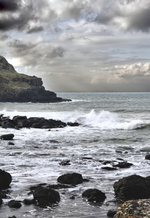 northern ireland: Storm on the coast of Northern Atlantic, county Antrim, Northern Ireland Stock Photo