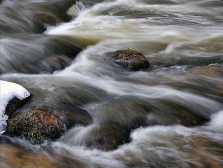 rushing water: Rushing water  Winter river stream