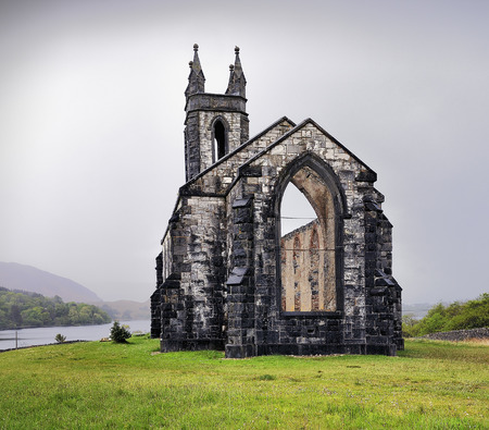 consecrated: Consecrated on September 1, 1853, the ruined %u201COld Church Dunlewy%u201D is a striking landmark in rural Donegal, Ireland  Overlooking the Poisoned Glen at the foot of Errigal Stock Photo