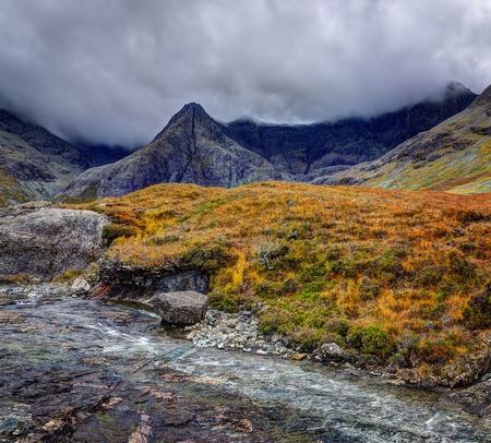 brittle: Early morning in Fairy Pools, Glen Brittle, Isle of Skye, Inner Hebrides, Highlands, Scotland
