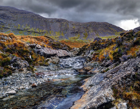 brittle: Dramatic morning in Fairy Pools, Glen Brittle, Isle of Skye, Inner Hebrides, Highlands, Scotland, UK