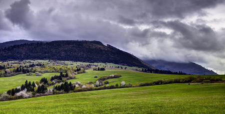 Black Mountain is a small mountain range in eastern Slovakia. It forms part of the Slovak Ore Mountains. On the lower slopes, the beech is predominant, the higher reaches are covered by spruce and mixed forest.