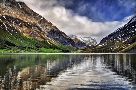 Panorama view to Eidsvatnet lake near Geiranger, Norway Stok Fotoğraf