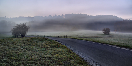 Cold and misty autumn morning. Lithuania landscape Stok Fotoğraf
