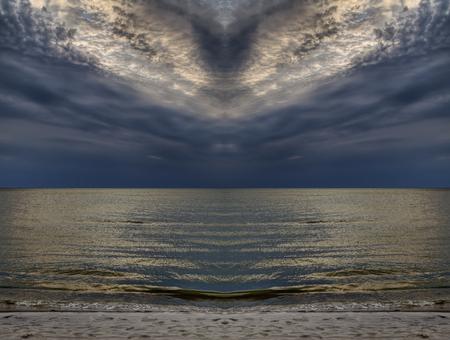 Baltic sea in autumn season. Cloudy peacebird
