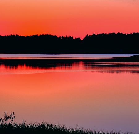 Tranquil lake, summer evening, sunset. Lithuania landscape. Stok Fotoğraf