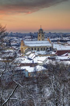 Early winter morning at Vilnius. St. Johns church
