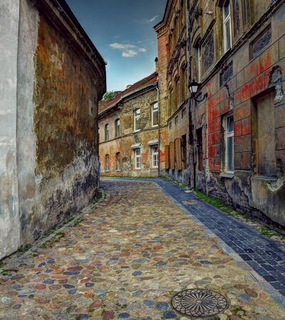Ancientl street at old town in Vilnius, Lithuania. Midday.