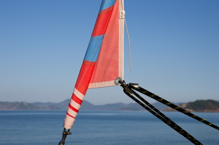 jib: Staysail on a background a sea