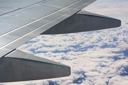 Under the wing of airplane Stock Photo