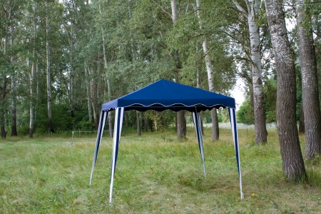 Large tent in a forest
