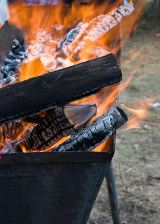 Flame in barbecue photo