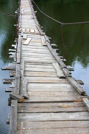 Old suspended bridge Stock Photo