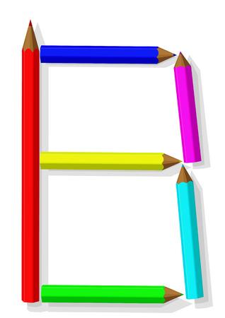 Lettera B dalle matite Vettoriali