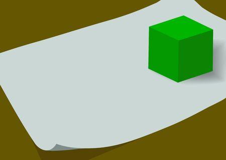 tilt: Green block on the sheet of paper