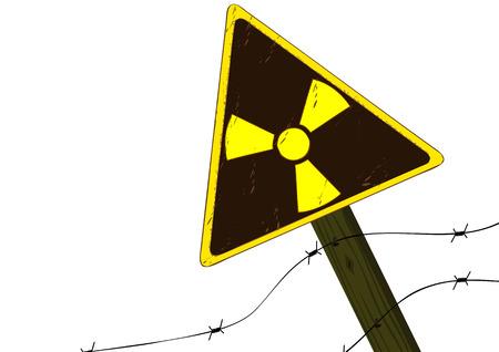 Sign of radiation on a column Illustration