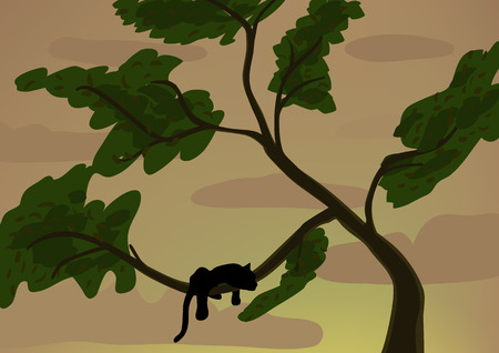 Black panther on a tree Vector