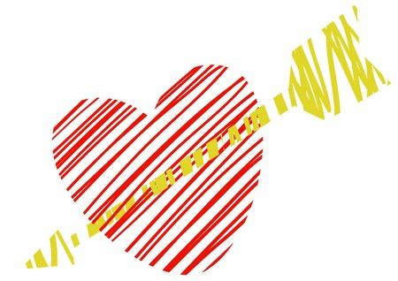 to pierce: Heart pierced by an arrow