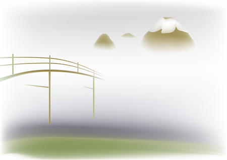 Wooden bridge on a background misty mountains