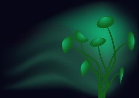 poisonous substances: Green toadstools Illustration