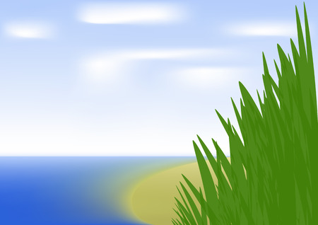 vegetation: Vegetation on shore of sea Illustration