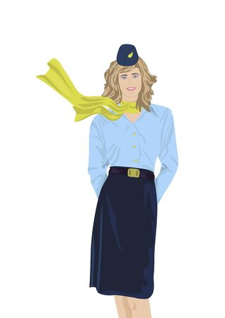 'one woman only': Stewardess on a white background Illustration