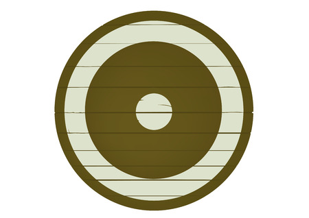 antiquities: Wooden shield on a white background
