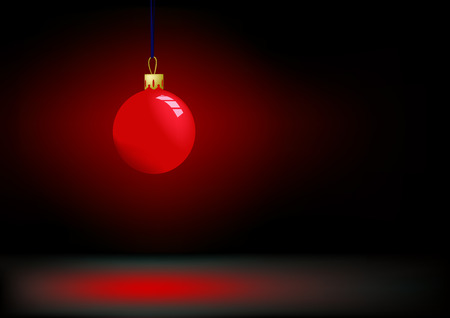 darkness: Red christmas ball in darkness