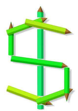 Symbol of dollar from pencils