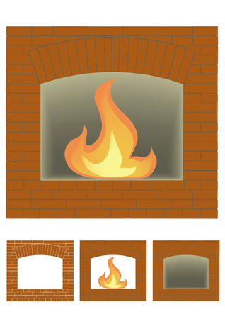 portals: Three portals of fireplace on a white background