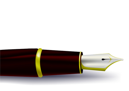signing papers: Ink pen on a white background Illustration