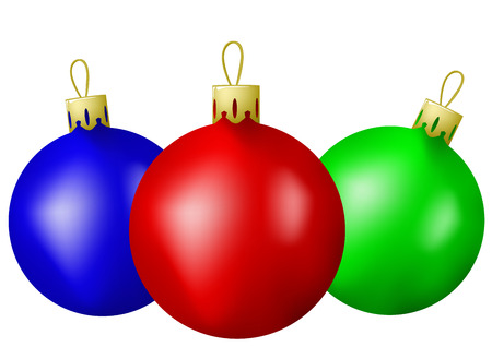 Three varicoloured christmas balls